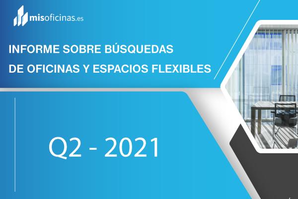 Informe trimestral realizado por www.misoficinas.es de búsquedas de oficinas y espacios flexibles Q2 2021